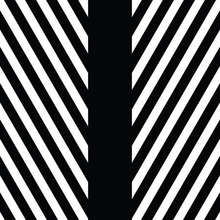 vibrating: Decorative ornament, figurative design template with striped black white triangles.