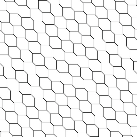A black and white honeycomb graphic tiles pattern illustration.