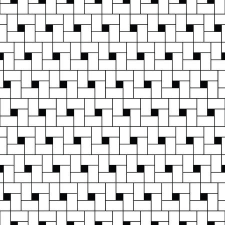 Pythagorean tiling. Squares tessellation vector. Repeated white checks sequence on black background. Surface pattern design with polygons. Mosaic motif. Grid wallpaper.