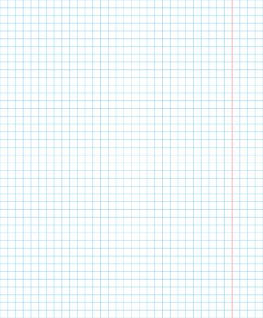 Cuaderno de la escuela estándar una página en el cuadrado para las matemáticas con los campos rojos, fondo de ilustración vectorial Ilustración de vector