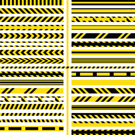 yellow and black danger ribbons. Police line, crime scene, do not cross, construction site road.