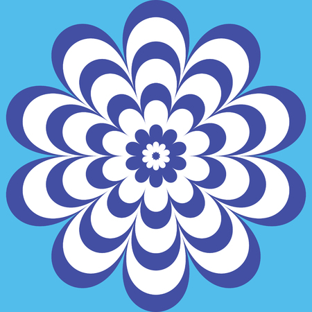 blue circular flower pattern with a beautiful striped patterned petals