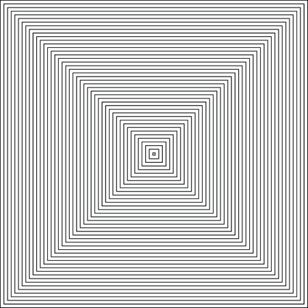 Vector radiating squares spiral. Retro style abstract background. Contour lines of group of squares. Black And White. Illustration
