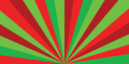 sunburst ray vector Christmas or new year colored pattern with red and green diagonal line, stripes background illustration. Vector illustration for design, banner, card, poster.