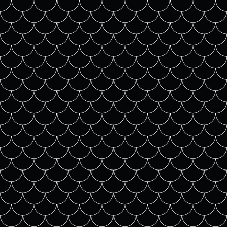 Geometric fish scales Chinese seamless pattern. Wavy roof tile background for design. Modern repeating stylish texture.