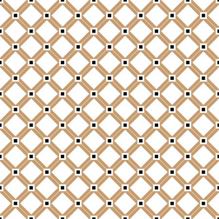 Cross lines gold vector pattern, background. Seamless repeatable grid, mesh pattern. Template of lattice texture. Vintage black and white tiles vector pattern or background