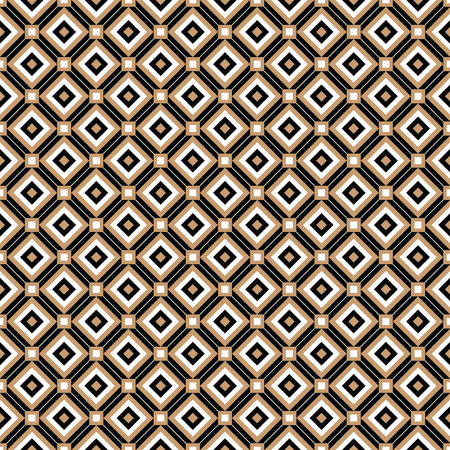 Cross lines gold vector pattern, background. Seamless repeatable grid, mesh pattern. Template of lattice or grillage texture. Vintage black and white tiles vector pattern or background Ilustração