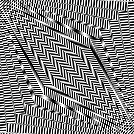 Wavy, zigzag distorted lines pattern.  Vector illustration.