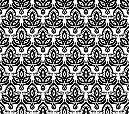 Ornamental floral element pattern background for design in vintage stile. Vector seamless texture. Vettoriali