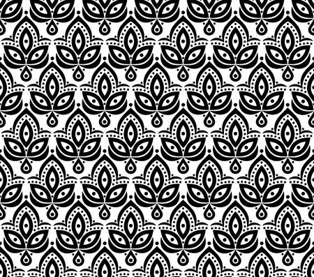 Ornamental floral element pattern background for design in vintage stile. Vector seamless texture. Illustration