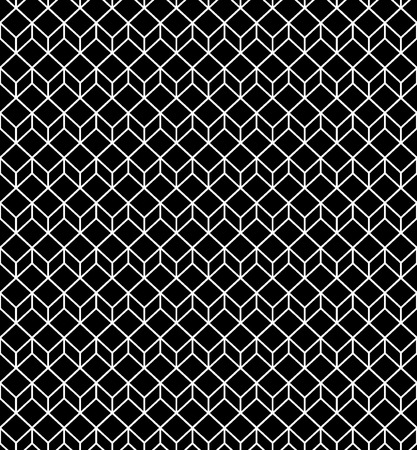 Abstract geometric background cubes. Vintage black and white cross lines vector pattern, background. Seamless repeatable grid, mesh pattern. Template of lattice or grillage texture.