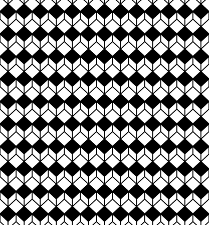 Abstract geometric background cubes. Vintage black and white cross lines vector pattern, background seamless repeatable grid, mesh pattern. Template of lattice or grilling texture.