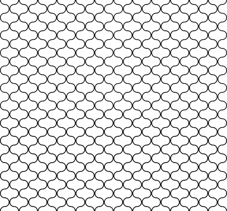 Seamless circular geometric figures ornament pattern design. Islamic art deco background. Vector grid surface with repeated rounded shapes. Vettoriali