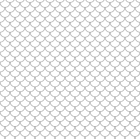 Geometric fish scales chinese seamless pattern. Wavy roof tile. Modern repeating stylish texture. Waves lines seamless design elements for wrapping paper, background, surface texture and fill, card, templates. Vector illustration
