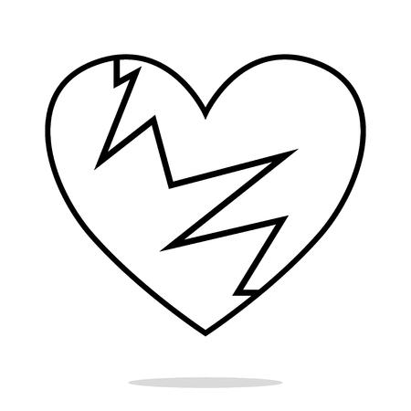 Broken Heart icon isolated on white background, heartbreak Vector and illustration