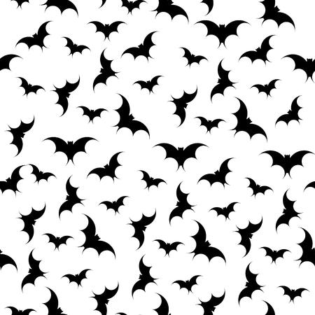 Fondo senza cuciture dei pipistrelli. Halloween. Siluetta di vettore. Illustrazione vettoriale
