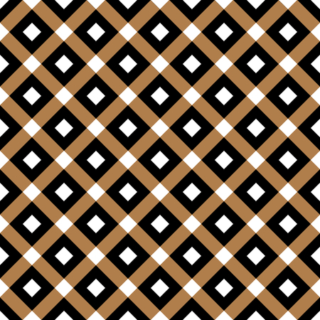 Cross lines gold vector pattern, background. Seamless repeatable grid, mesh pattern. Template of lattice or grillage texture. Vintage tiles vector pattern or background