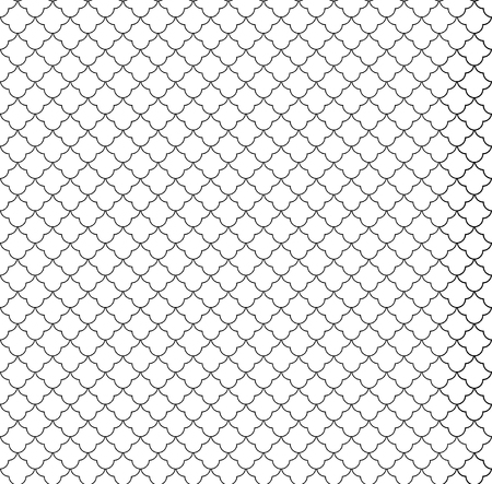 Islamic seamless circular geometric figures ornament pattern design. Vintage stylish luxury trellis decorative seamless background. Vector grid surface with repeated rounded shapes.