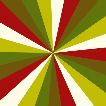 Sunburst background vector pattern with a vintage color palette of swirled radial striped design. Christmas retro vintage colors.
