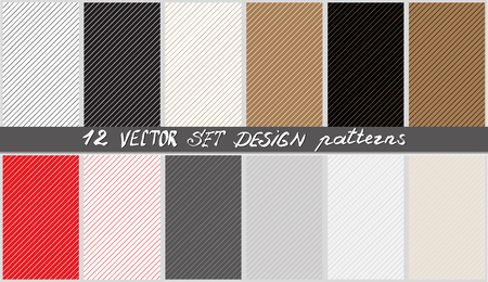 Set of thin diagonal stripes vector background. Geometric backgrounds collection. Texture for wallpaper, packaging, banners, invitations, business cards, fabric print, tiles. Vector and illustration.