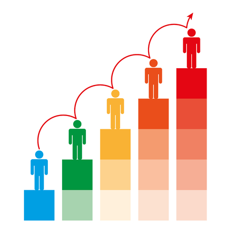 Successful business motivation concept levels, chart with business people. Graph Vector and illustration