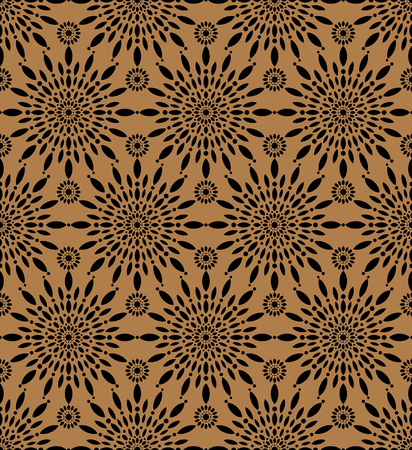 Snowflakes flowers seamless pattern, round flower background. Vector and illustration Vetores