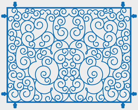 Blue scrolls forming abstract floral ornament.
