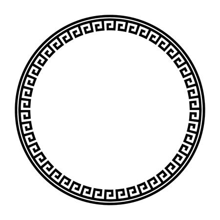 Cornice tonda con chiave greca. Bordo del cerchio di motivi tipici egizi, assiri e greci. Struttura geometrica araba. arte islamica. Geometrico astratto. Vettore e illustrazione.