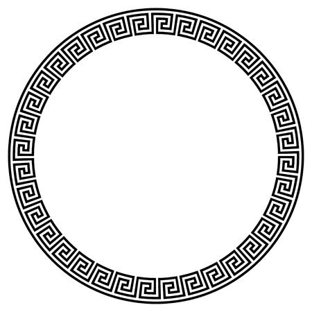 Greek key round frame. Typical egyptian, assyrian and greek motives circle border. Arabic geometric texture. Islamic Art. Abstract geometric. Vector and illustration. Vector Illustration