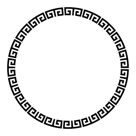 Cornice tonda con chiave greca. Bordo del cerchio di motivi tipici egizi, assiri e greci. Vettoriali