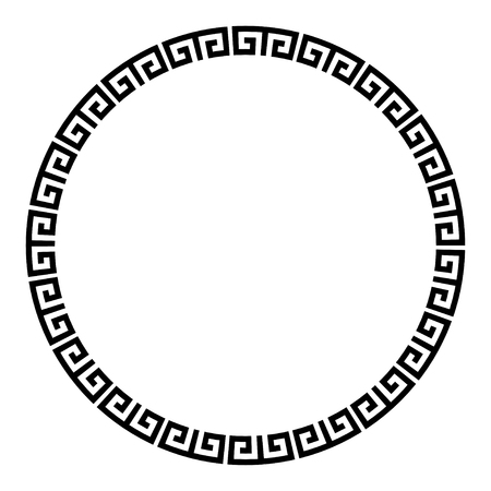 Greek key round frame. Typical egyptian, assyrian and greek motives circle border. Illustration