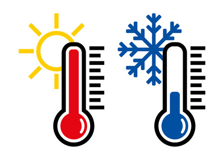 Thermometer icon or temperature symbol or emblem Illustration