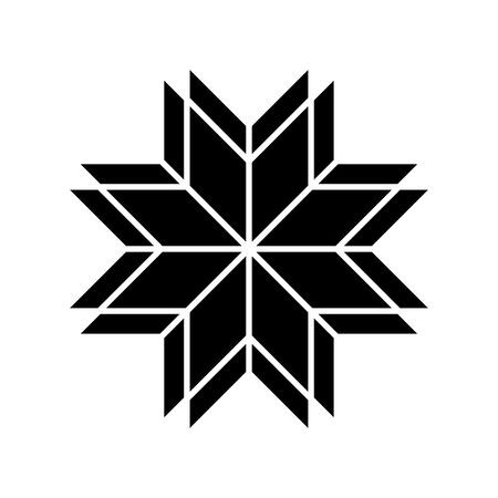 Old baltic Folk star or flower snowflake icon.