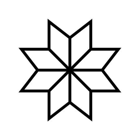 Old baltic Folk star or flower icon. Vector Illustration