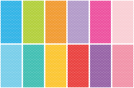 Set of small polka dots seamless pattern on bright colorful backgrounds. Polka dot fabric collection. Retro vector backgrounds or patterns. Casual stylish polka dots texture on bright backgrounds. Vector and illustration.