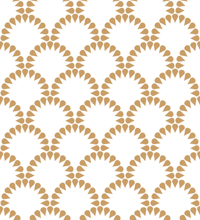 Japanese wavy golden floral vector seamless pattern. Abstract round elements repiating texture design. Ilustracja