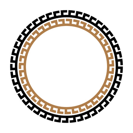 Greek key round frame. Typical egyptian, assyrian and greek motives circle border. Illustration