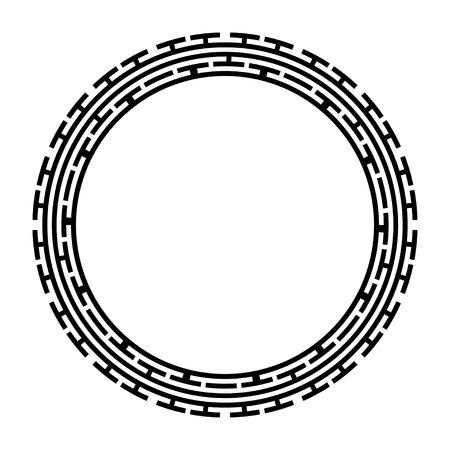 Greek key round frame. Typical egyptian, assyrian and greek motives circle border. Vettoriali