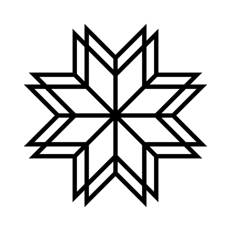 Old baltic Folk star or flower snowflake icon. Ethnic sacred cross ornamental symbol. Vector Illustration