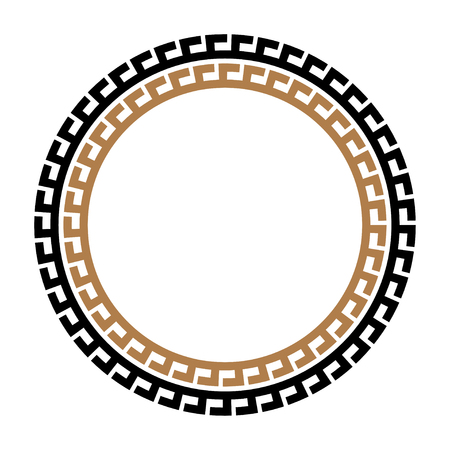 Greek key round frame. Typical egyptian, assyrian and greek motives circle border. Stock Photo