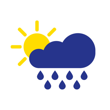Cloud rain with sun symbol. Rain icon in flat style isolated on white background. Forecast storm sign. Weather concept. Vector illustration