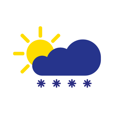 Cloud snow with sun symbol. Winter icon in flat style isolated on white background. Forecast storm sign. Weather concept. Vector illustration