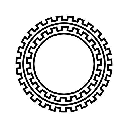 Greek key round frame. Imagens - 128617709