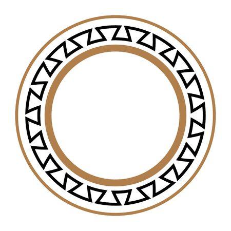 Greek key round frame. Imagens - 128617720