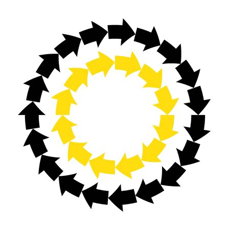 Vector abstract black yellow arrows round frame. Ilustração