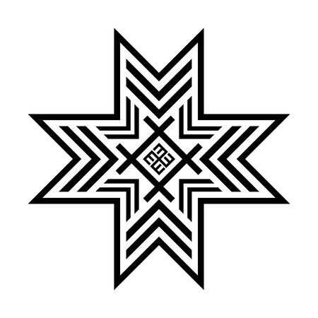 Old baltic Folk star or flower snowflake symbol. 向量圖像