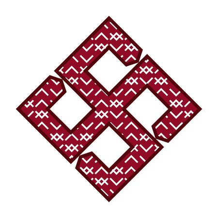 Ethnic baltic cross of fire ornamental symbol.