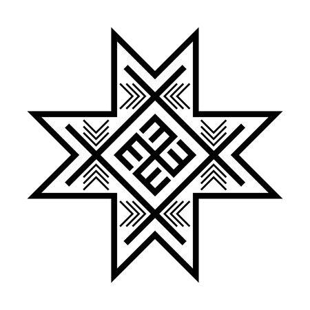 Old baltic Folk star or flower snowflake symbol.  イラスト・ベクター素材
