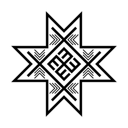Old baltic Folk star or flower snowflake symbol. Illustration