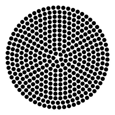 Round shape with circle dots. Vector template texture.